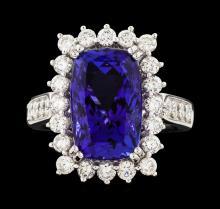 Platinum 7.64ct Tanzanite and Diamond Ring