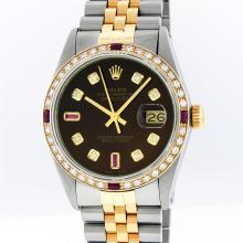 Rolex Mens Two Tone 14KT Yellow Gold 1.20ctw Diamond Datejust Wristwatch