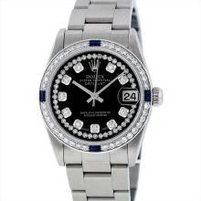 Rolex Midsize Stainless Steel Sapphire and Diamond DateJust Wristwatch
