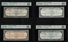 Set of 1933 $1/$5/$10/$20 San Diego Clearing House Certificates PMG CU64/65EPQ