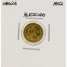 1852 Mexico 1/2 Escudo Gold Coin
