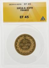 1834-A 40 Francs Gold Coin ANACS EF45