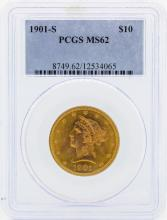 1901-S $10 Liberty Head Eagle Gold Coin PCGS MS62