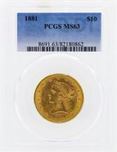1881 $10 Liberty Head Eagle Gold Coin PCGS MS63