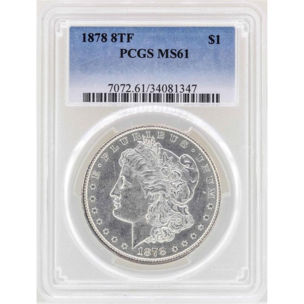 1878 8TF $1 Morgan Silver Dollar Coin PCGS MS61