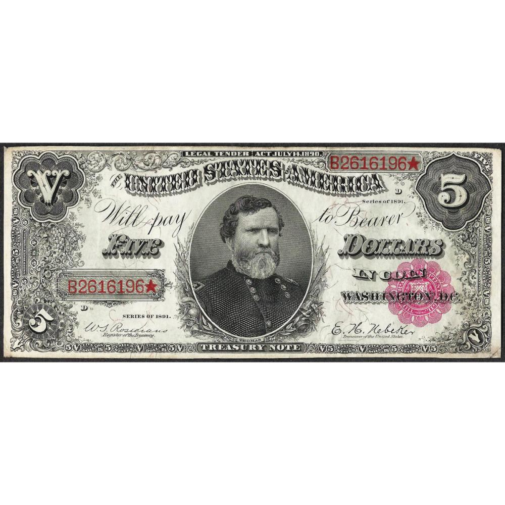 1891 $5 Treasury Note