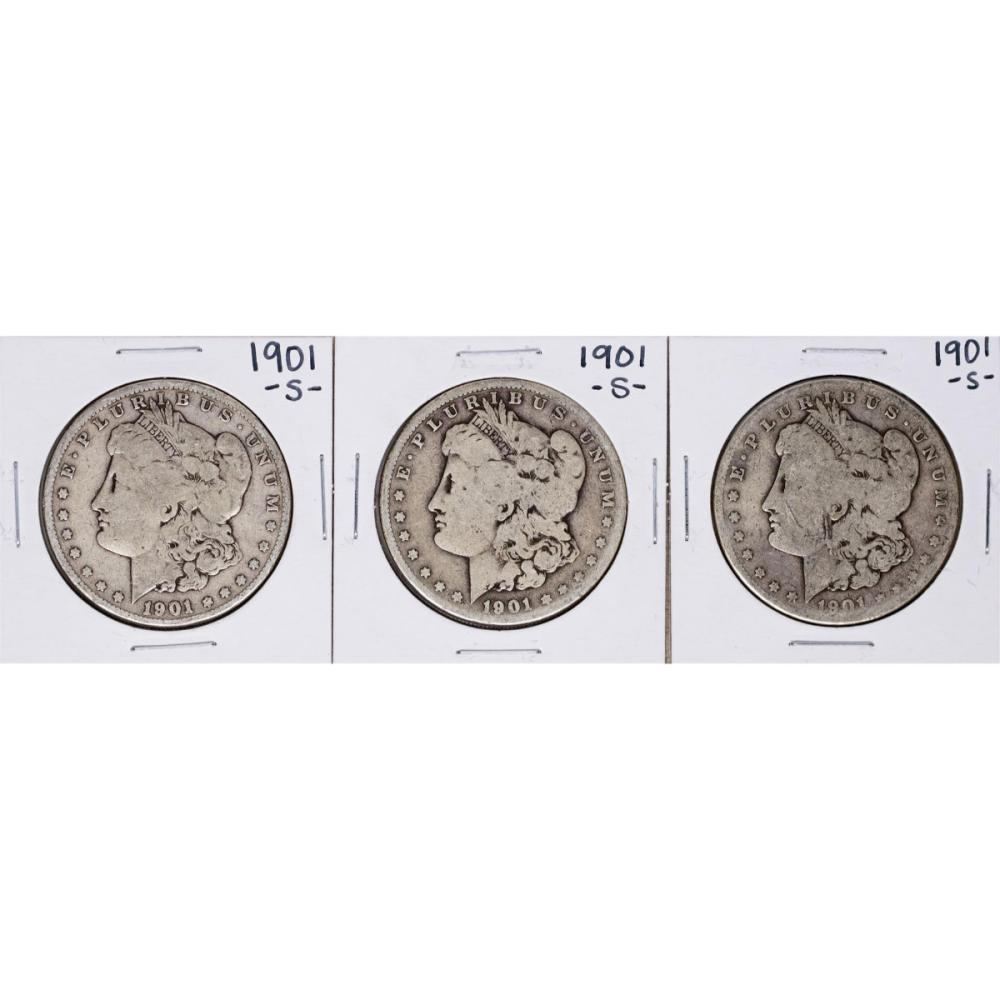 Lot of (3) 1901-S $1 Morgan Silver Dollar Coins