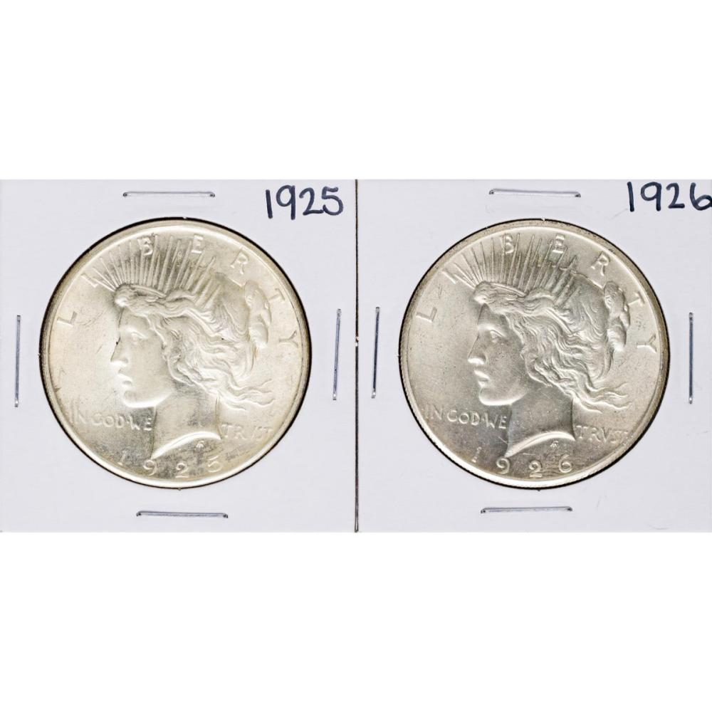 Lot of 1925-1926 $1 Peace Silver Dollar Coins