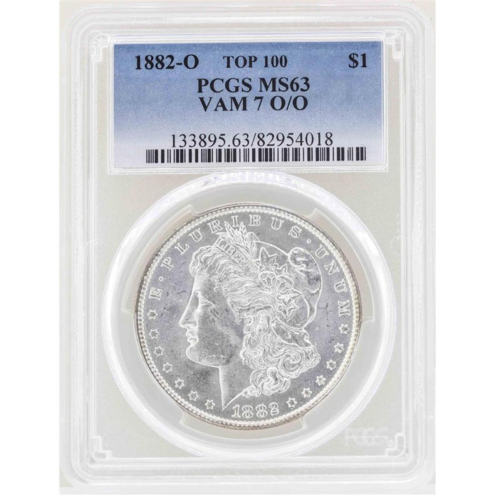 1882-O $1 Morgan Silver Dollar Coin VAM 7 O/O Top 100 PCGS MS63