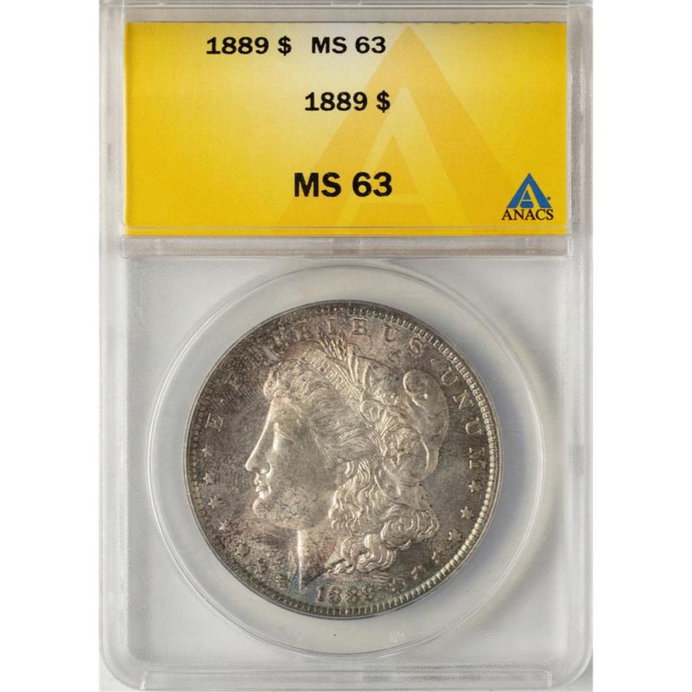 1889 $1 Morgan Silver Dollar Coin ANACS MS63