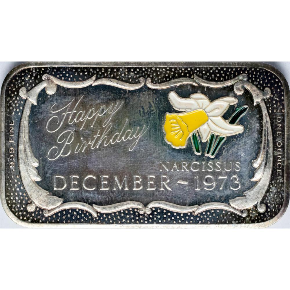 December 1973 Happy Birthday Enamel Silver Art Bar