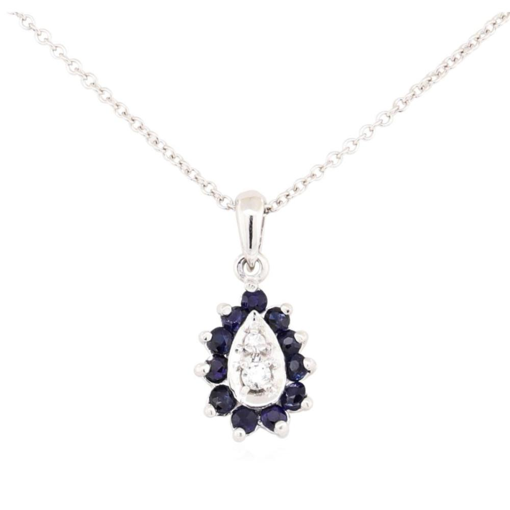 14KT White Gold 0.40 ctw Sapphire and Diamond Pendant with Chain