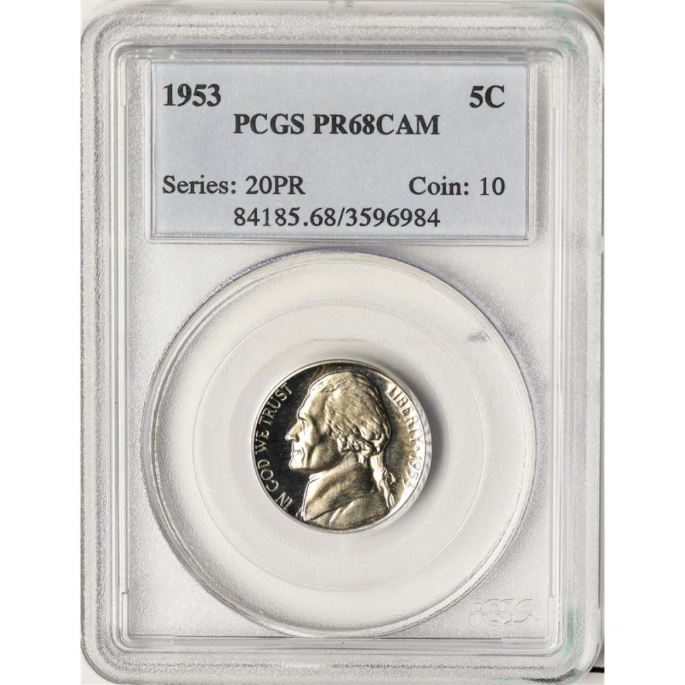 1953 Proof Jefferson Nickel Coin PCGS PR68CAM