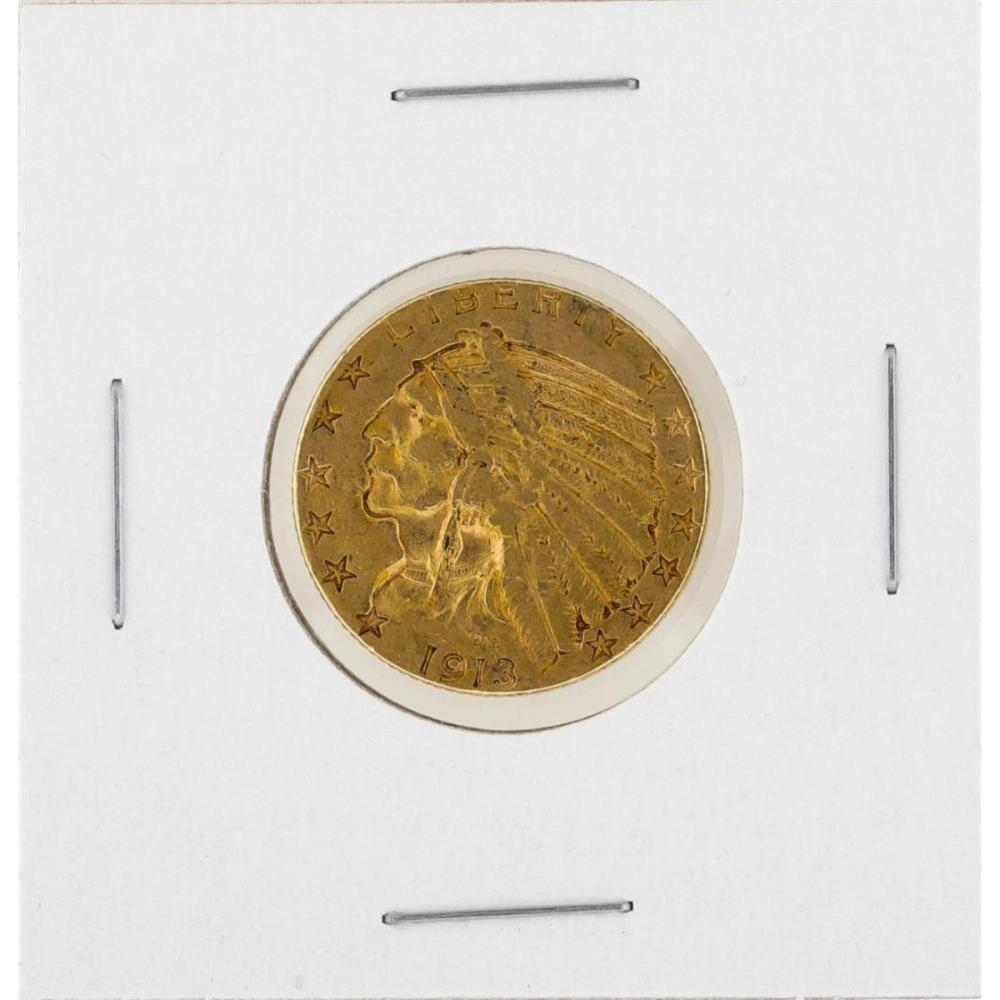 1913-S $5 Indian Head Half Eagle Gold Coin