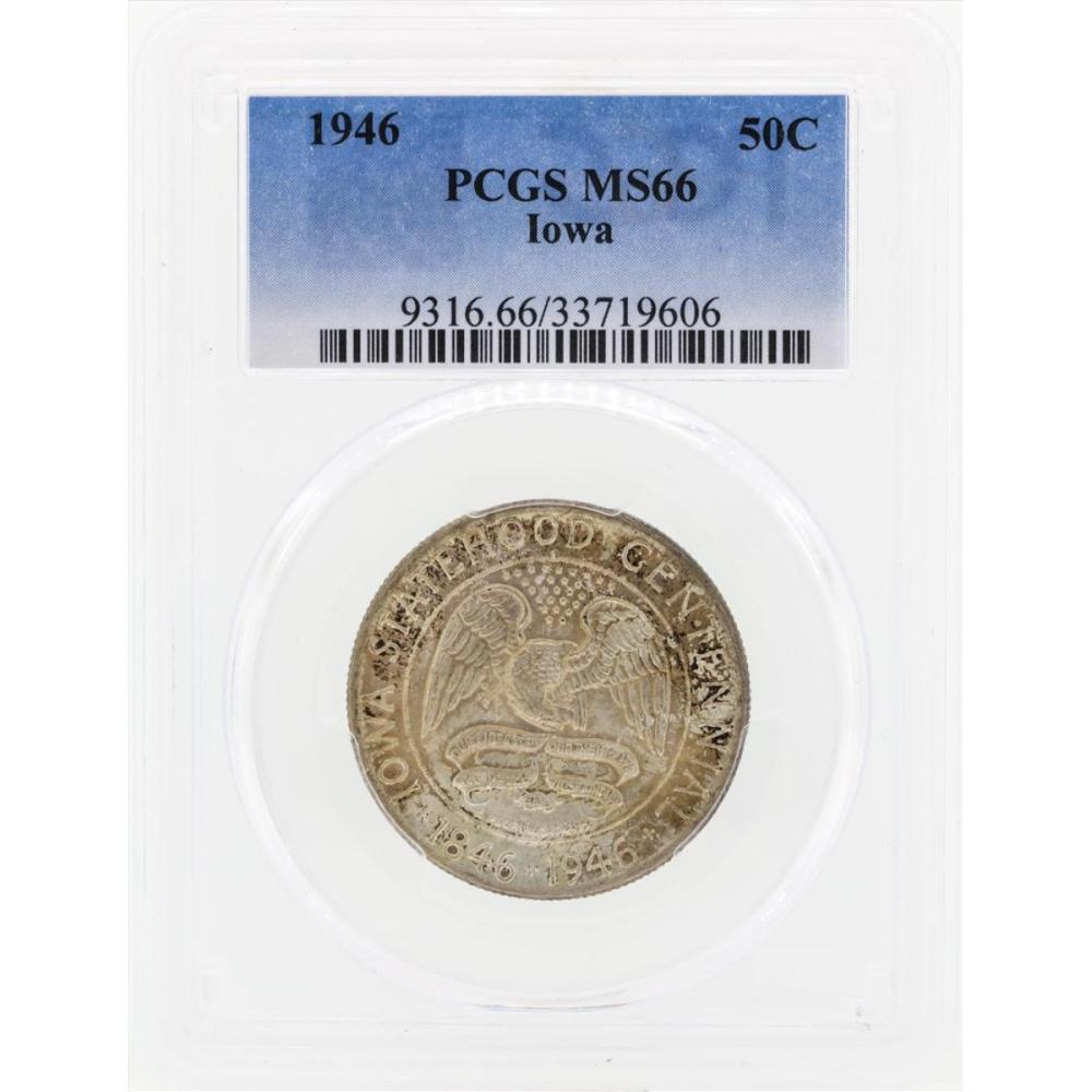 1946 Iowa Commemorative Half Dollar Coin PCGS MS66