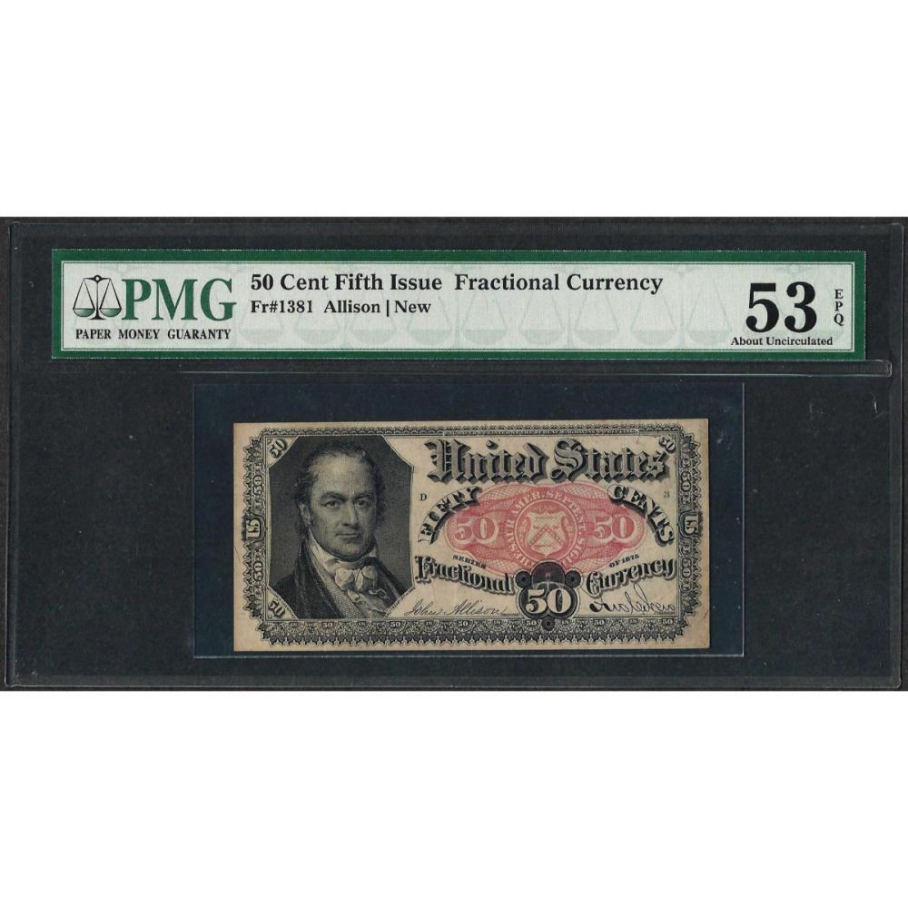 1874 50 Cent Fifth Issue Fractional Currency Note Fr.1381 PMG About Uncirculated