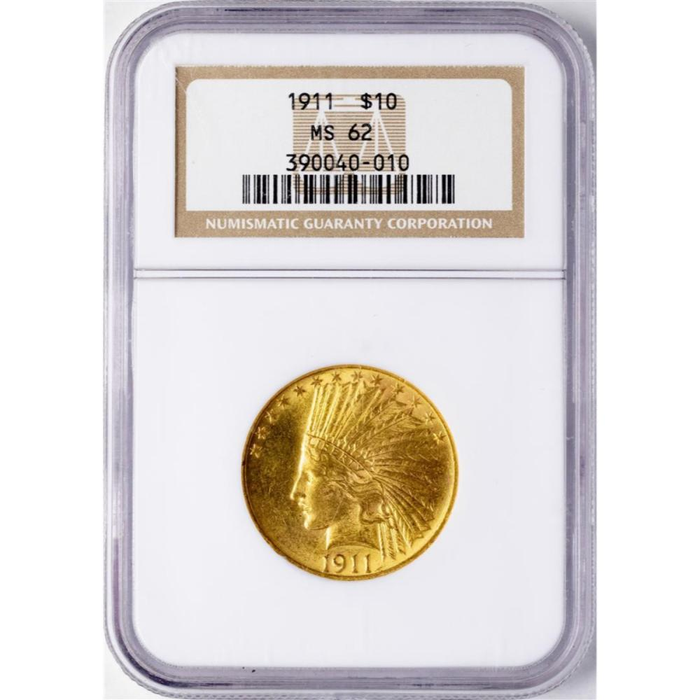 1911 $10 Indian Head Eagle Gold Coin NGC MS62