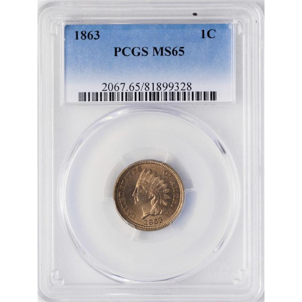 1863 Indian Head Cent Coin PCGS MS65