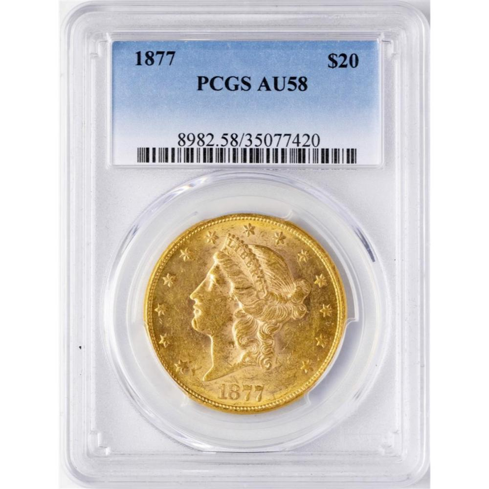 1877 $20 Liberty Head Double Eagle Gold Coin PCGS AU58