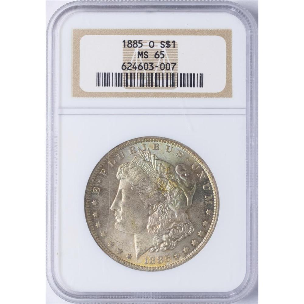 1885-O $1 Morgan Silver Dollar Coin NGC MS65 Nice Toning