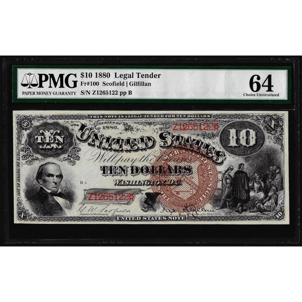 1880 $10 Jackass Legal Tender Note Fr.100 PMG Choice Uncirculated 64