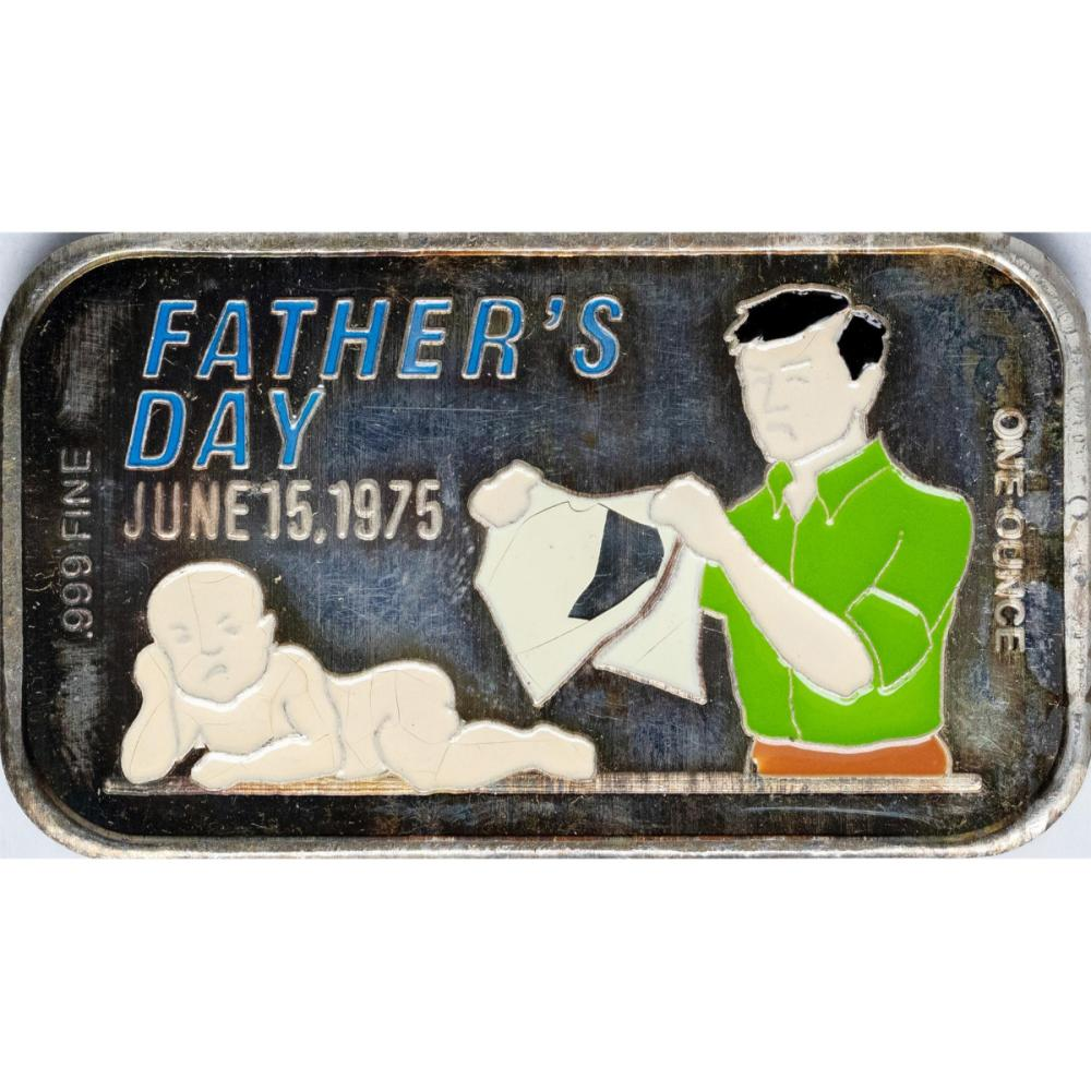 June 15, 1975 Happy Father's Day Enamel Silver Art Bar