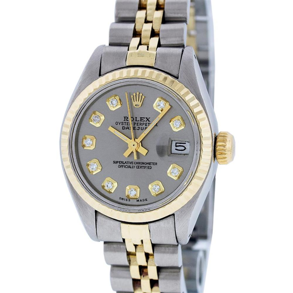 Rolex Ladies Two Tone 14K Slate Grey Diamond 26MM Datejust Wristwatch