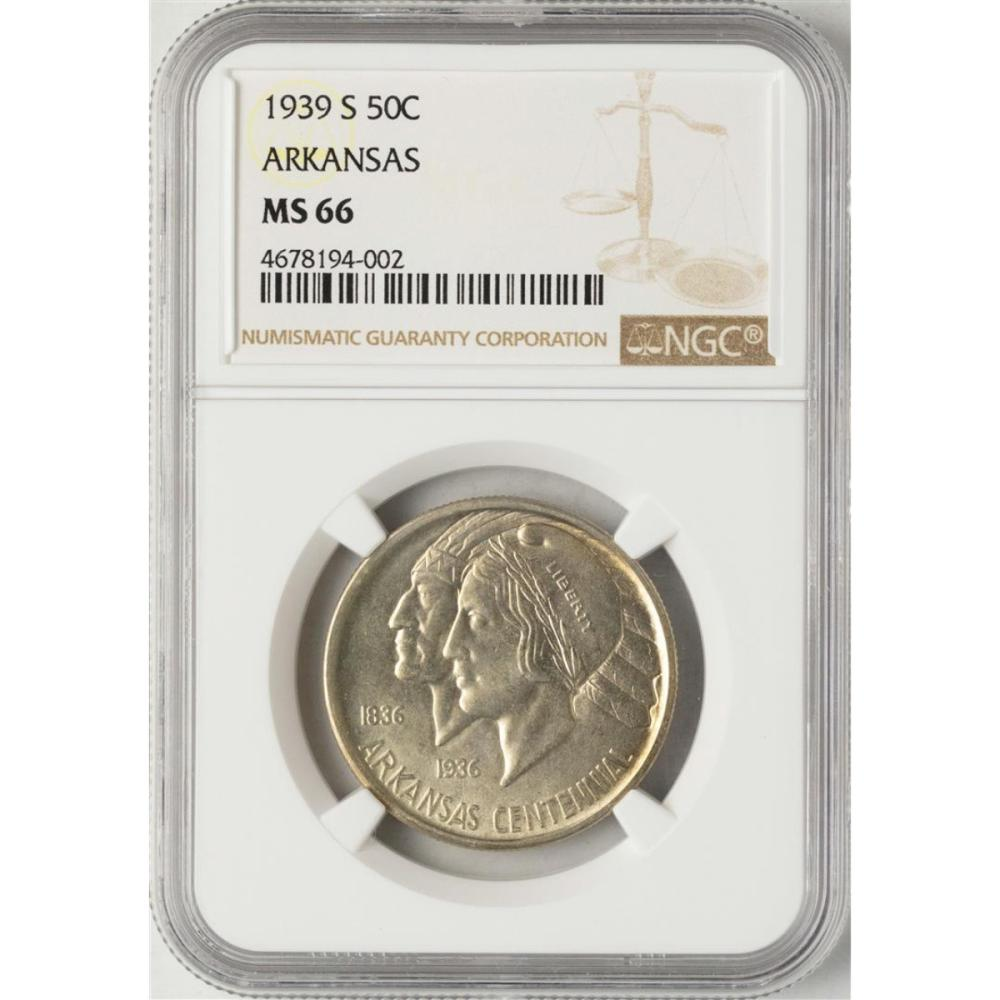1939-S Arkansas Centennial Commemorative Half Dollar Coin NGC MS66