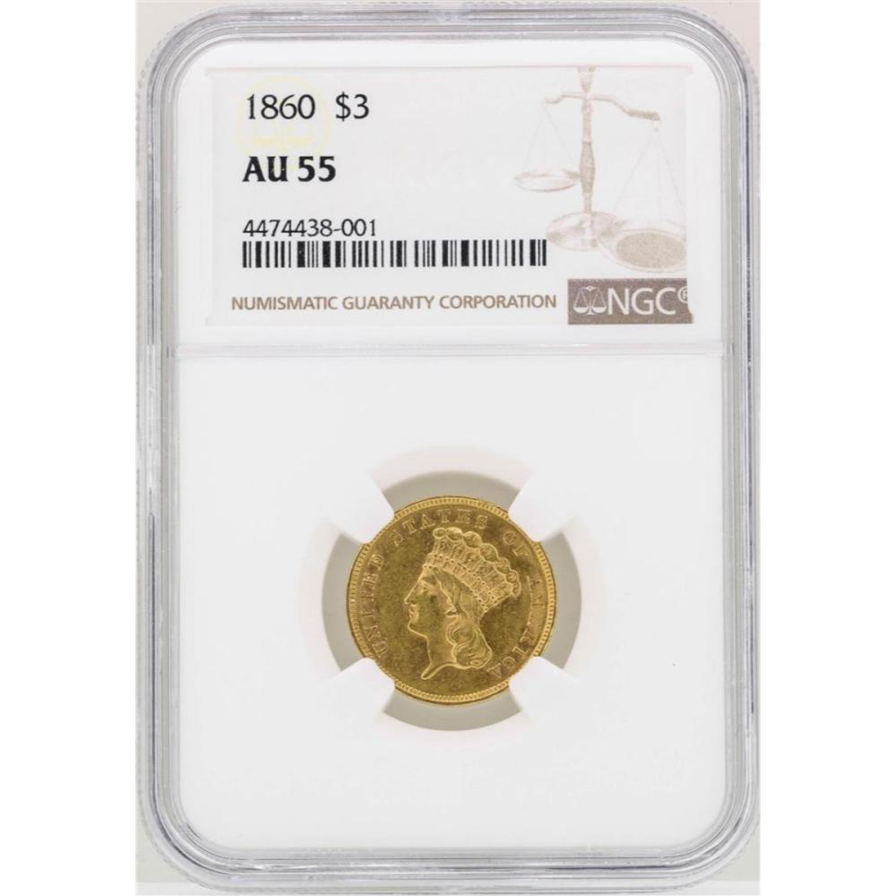 1860 $3 Indian Princess Head Gold Coin NGC AU55