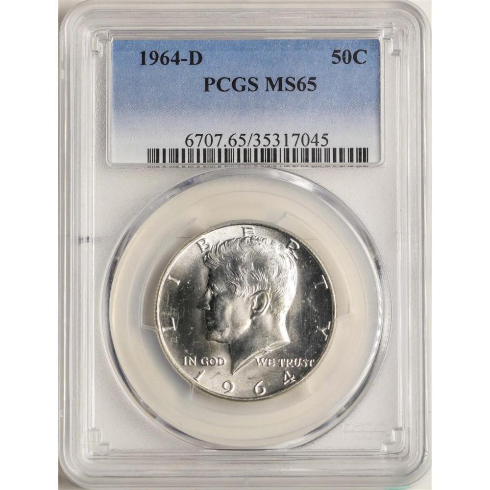 1964-D Kennedy Half Dollar Coin PCGS MS65