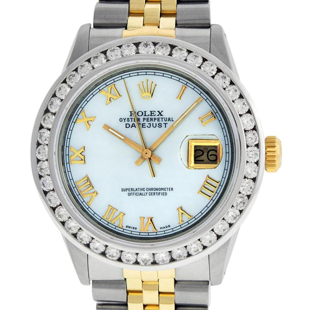 Rolex Men's Two Tone 14K MOP Roman 3 ctw Channel Set Diamond Datejust Wristwatch
