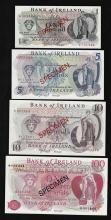 Set of (4) Bank of Ireland Specimen Bank Notes