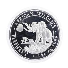 2016 African Wildlife Elephant 2 Shillings 1Kg Silver Coin