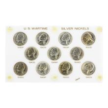Set of (11) 1942-1945 U.S. Wartime Silver Nickels