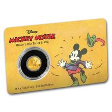 2016 $2 1/2 Mickey Brave Little Tailor .9999 Fine Gold Proof Coin