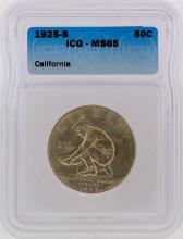 1925-S Half Dollar California Diamond Jubilee Commemorative Coin ICG Graded MS65