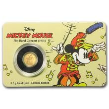2016 $2 1/2 Mickey The Band Concert .9999 Fine Gold Proof Coin