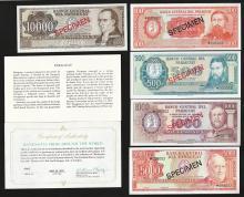 Set of (5) Central Bank of Paraguay Specimen Bank Notes