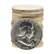 Roll of (20) 1958 Franklin Half Dollar Silver Coins