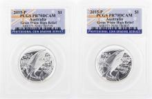 Set of (2) 2015 $1 Australia Great White High Relief Silver Coins