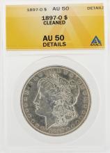 1897-O $1 Morgan Silver Dollar Coin Cleaned ANACS AU50 Details