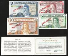 Set of (4) Government of Gibraltar Specimen Bank Notes