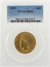 1910 $10 Indian Head Eagle Gold Coin PCGS MS63