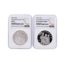 2014-P $1 Civil Rights Act of 1964 NGC MS70 and NGC PF70 Ultra Cameo