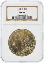 1881-S $1 Morgan Silver Dollar NGC Graded MS65