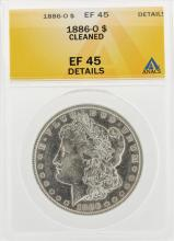 1886-O $1 Morgan Silver Dollar Coin Cleaned ANACS EF45 Details