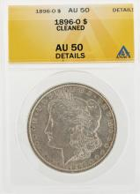1896-O $1 Morgan Silver Dollar Coin Cleaned ANACS AU50 Details