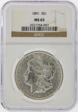 1891 $1 Morgan Silver Dollar Coin NGC Graded MS65