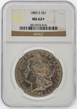 1883-S $1 Morgan Silver Dollar Coin NGC Graded MS62+