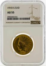 1910-S $10 Indian Head Eagle Gold Coin NGC AU55